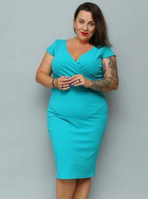 Sukienka plus size z kopertowym dekoltem BONITA LETNIA ołówkowa turkusowa PROMOCJA