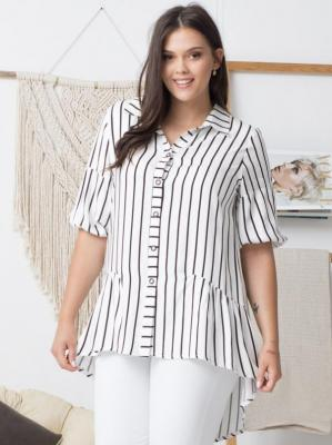 Koszula tunika BRYGIDA ozdobna falbanka biała w czarne paski