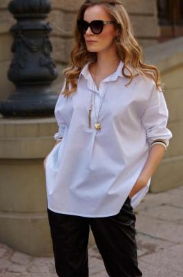 Biała Nowoczesna Koszula ze Ściągaczem