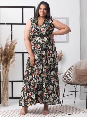 Sukienka letnia kopertowa long FIORELLA czarna w duże polne kwiaty PROMOCJA