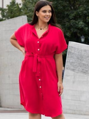 Sukienka szmizjerka rozpinana AGNES amarantowa PROMOCJA