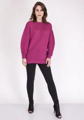 MKMSwetry Beatrix SWE 097 Amarantowy sweter damski