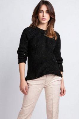MKMSwetry Kriss SWE 076 czarny sweter damski