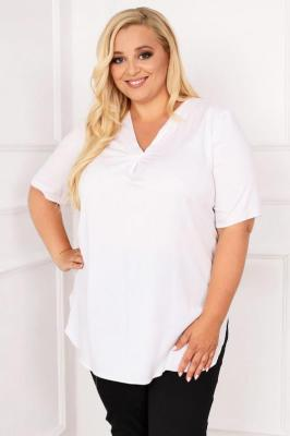 Bluzka elegancka do pracy ANGIE z krótkim rękawem biała