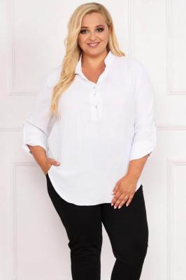 Bluzka elegancka do pracy GLORIA dekolt rozpinany na stójce biała