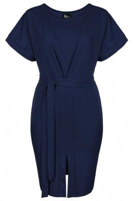 CARLA NAVY minimalistyczna sukienka plus size : size - 46