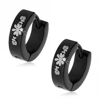 Czarne okrągłe kolczyki ze stali chirurgicznej ze wzorem kwiatów