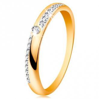 Pierścionek ze złota 585 - wąskie linie z bezbarwnych błyszczących cyrkonii, lśniące ramiona, cyrkonia - Rozmiar : 60