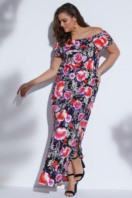 Duże rozmiary Wzorzysta sukienka z falbaną, damska, czarny, rozmiar: 58/60, wiskoza, Ulla Popken