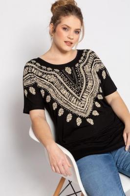 Duże rozmiary T-shirt, damska, szaro, rozmiar: 42/44, wiskoza, Ulla Popken