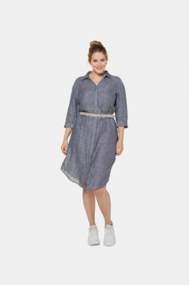 Duże rozmiary Sukienka, damska, niebieski, rozmiar: 58/60, len, Ulla Popken