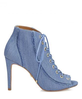 Niebieskie botki peep toe