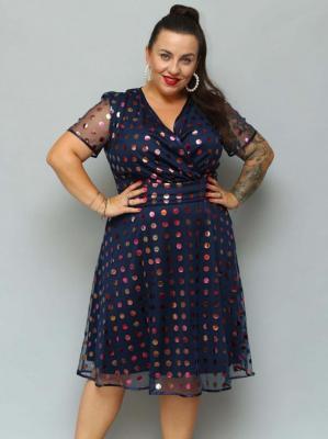 Sukienka rozkloszowana MILENA ozdobna siateczka w błyszczące kropki granatowa