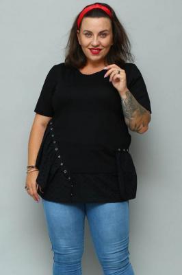 Bluzka z falbanką ELENA zdobiona ażurowym haftem czarna PROMOCJA
