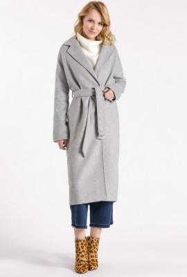 Wełniany długi płaszcz z paskiem