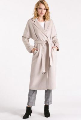 Wełniany płaszcz damski z paskiem