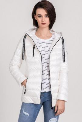 Pikowana kurtka damska z ozdobnymi tasiemkami