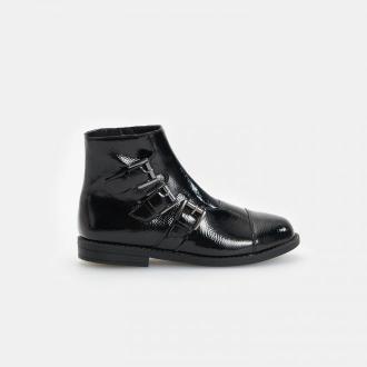 Reserved - Czarne botki z klamrami - Czarny