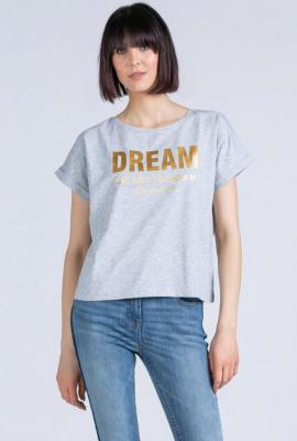 T-shirt z połyskującym napisem