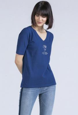 T-shirt w serek z połyskującym nadrukiem