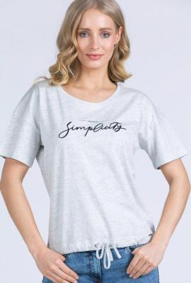 T-shirt z napisem ściągany na dole