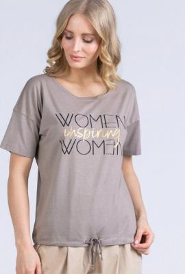 T-shirt z dużym napisem ściągany na dole