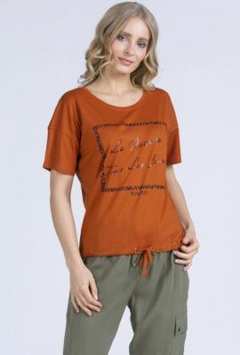 T-shirt z połyskującym nadrukiem ściągany na dole