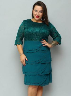 Sukienka trapezowa AGATKA szyfonowe falbanki karczek z koronki butelkowa zieleń