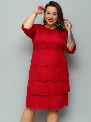 Sukienka trapezowa AGATKA szyfonowe falbanki karczek z koronki bordowa