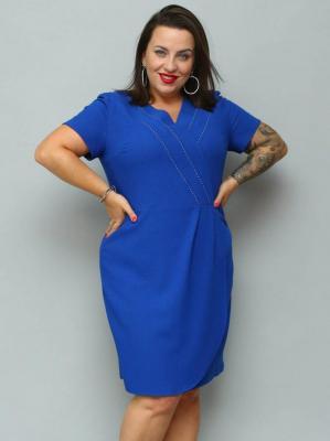 Sukienka ołówkowa NATALKA dekolt serek z cyrkoniami kobaltowa