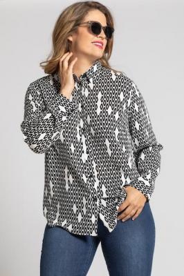 Duże rozmiary Bluzka koszulowa, damska, czarny, rozmiar: 46/48, wiskoza, Ulla Popken