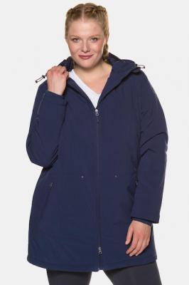 Duże rozmiary Długa kurtka Softshell, damska, niebieski, rozmiar: 54/56, poliester, Ulla Popken