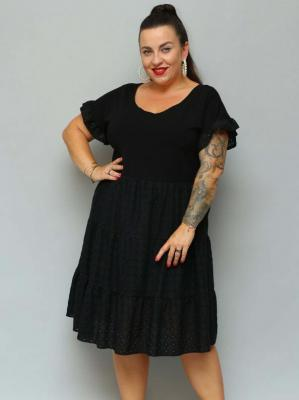 Sukienka rozkloszowana z falbankami MARTYNA ażurowy haft czarna PROMOCJA