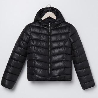 Sinsay - Pikowana kurtka z kapturem - Czarny