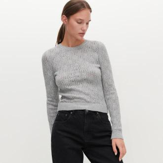 Reserved - Ażurowy sweter - Jasny szary