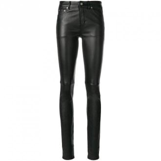 Saint Laurent 5-pocket trousers in stretch leather trousers Spodnie