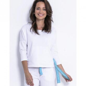 Fobya Bluza kangurka F873 Swetry i bluzy Biały Dorośli Kobiety