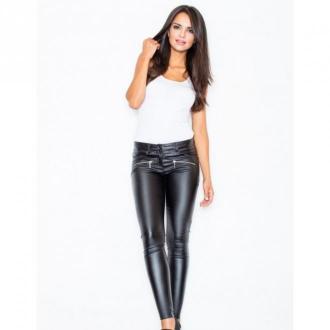 Figl Spodnie z eko skóry M361 Spodnie Czarny Dorośli Kobiety Rozmiar: