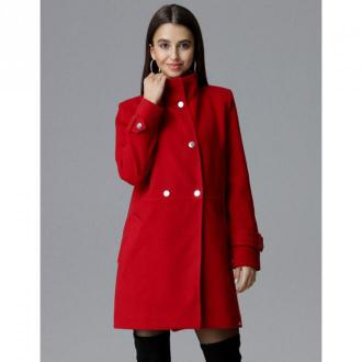 Figl Płaszcz dwurzędowy ze stójką M623 Płaszcze Czerwony Dorośli