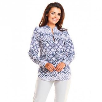 Awama Bluzka z geometrycznym printem A239 Bluzki i koszule Szary