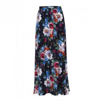 Kasia Miciak design Spódnica maxi w malowane kwiaty Spódnice Czarny