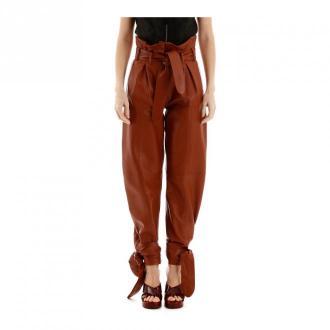 The Attico Leather trousers Spodnie Brązowy Dorośli Kobiety Rozmiar: