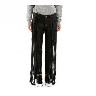 Golden Goose Fringed leather trousers Spodnie Czarny Dorośli Kobiety