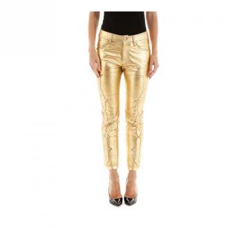 Golden Goose Leather trousers Spodnie Żółty Dorośli Kobiety Rozmiar: S