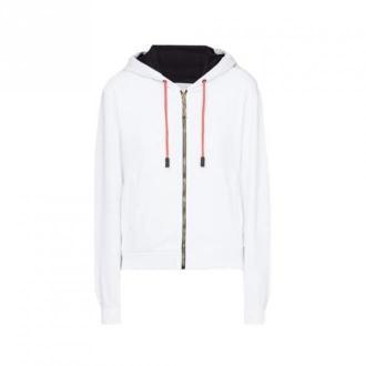 Roberto Cavalli Sport Sweatshirt With ZIP Swetry i bluzy Biały Dorośli