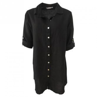 Copenhagen Luxe Large shirt in linen 1151 Sukienki Czarny Dorośli