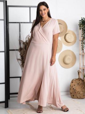 Sukienka na komunię długa z rozporkiem i kopertowym dekoltem FIOMENA long puder róż PROMOCJA