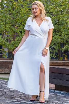 Sukienka na ślub długa z kopertowym dekoltem FIOMENA long ecru PROMOCJA
