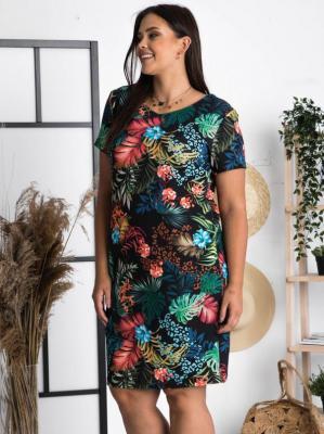 Sukienka w kwiaty ołówkowa letnia MARLENA LETNIA dzianinowa czarna w kolorowe liście i panterkę PROMOCJA