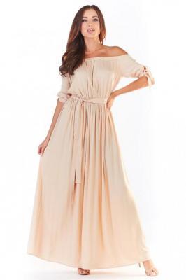 Beżowa Długa Sukienka z Hiszpańskim Dekoltem